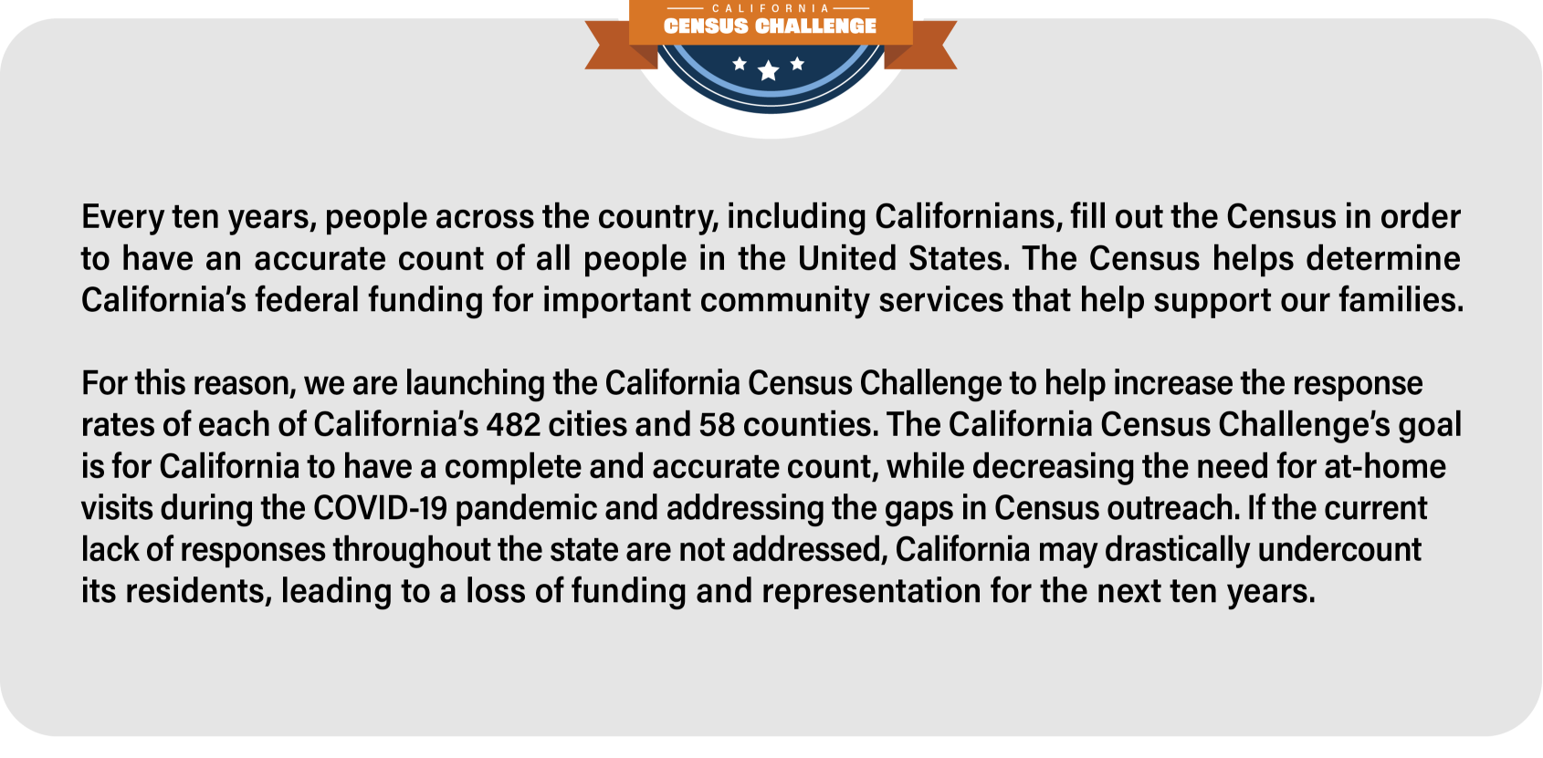 Every 10 years, people across the country, including Californians, fill out the Census in order to have an accurate count of all people in the United States. The Census helps determine California's federal funding for important community services that help support our families.For this reason, we are launching the California Census Challenge to help increase the response rates of each of California's 482 cities and 58 counties. The California Census Challenge's goal is for California to have a complete and accurate count, while decreasing the need for at-home visits during the COVID-19 pandemic and addressing the gaps in Census outreach. If the current lack of responses throughout the state is not addressed, California may drastically undercount its residents, leading to a loss of funding and representation for the next ten years.