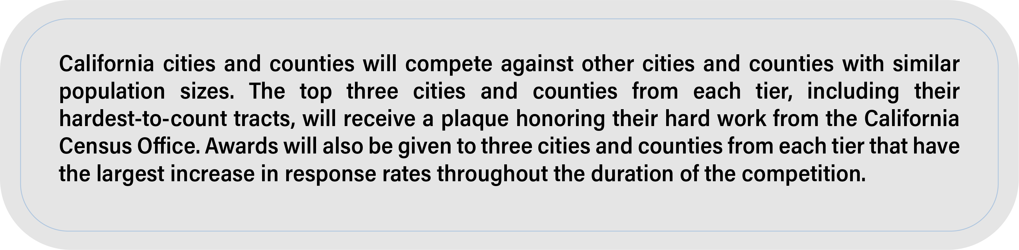 California cities and counties will compete against other cities and counties with similar population sizes. The top three cities and counties from each tier, including their hardest-to-count tracts, will receive a plaque honoring their hard work from the California Census Office. Awards will also be given to three cities and counties from each tier that have the largest increase in response rates throughout the duration of the competition.