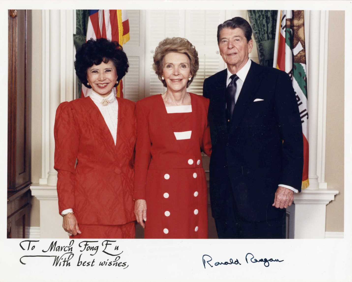 President Ronald Reagan and Nancy Reagan with former Secretary of State March Fong Eu