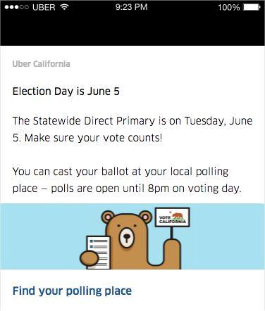 Uber message on how to find polling place
